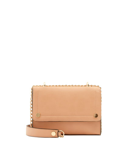 Nude crossbody bag with stud detail