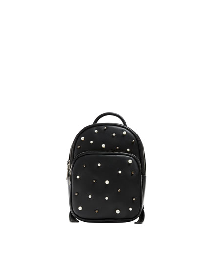 Black mini backpack with pearl bead detail