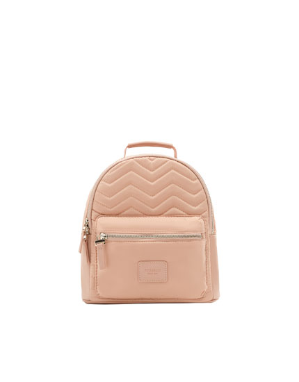 Quilted pink backpack