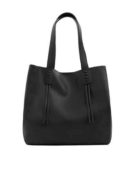 Black tote bag with stitched detail