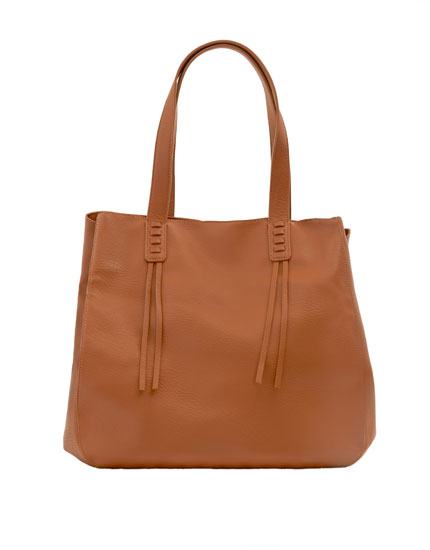 Brown tote bag with stitched detail