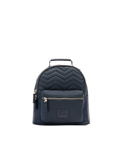 Quilted blue backpack