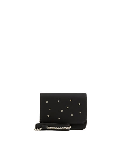 Black crossbody bag with stars