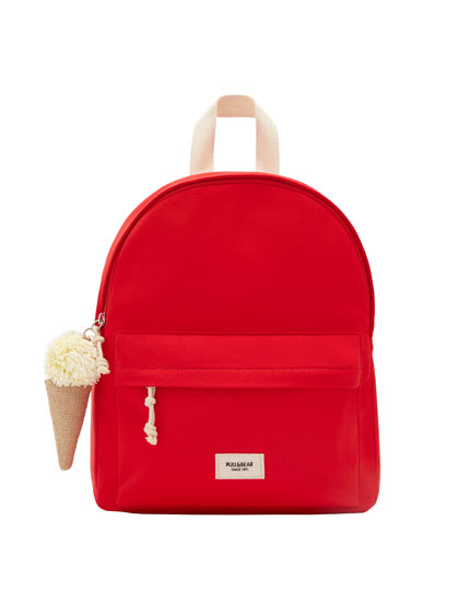 Backpack with keyring detail