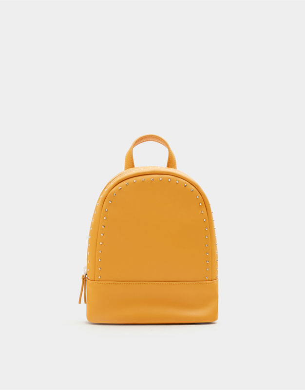 Mustard Yellow Mini Backpack With Stud Details by Pull & Bear