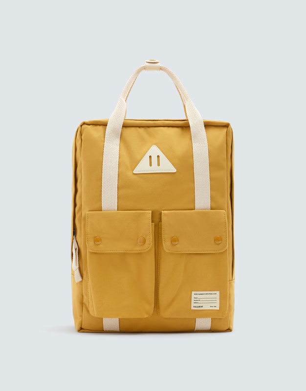 mustard-yellow-school-backpack by pull-&-bear