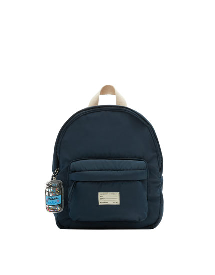 Blue backpack with key ring detail
