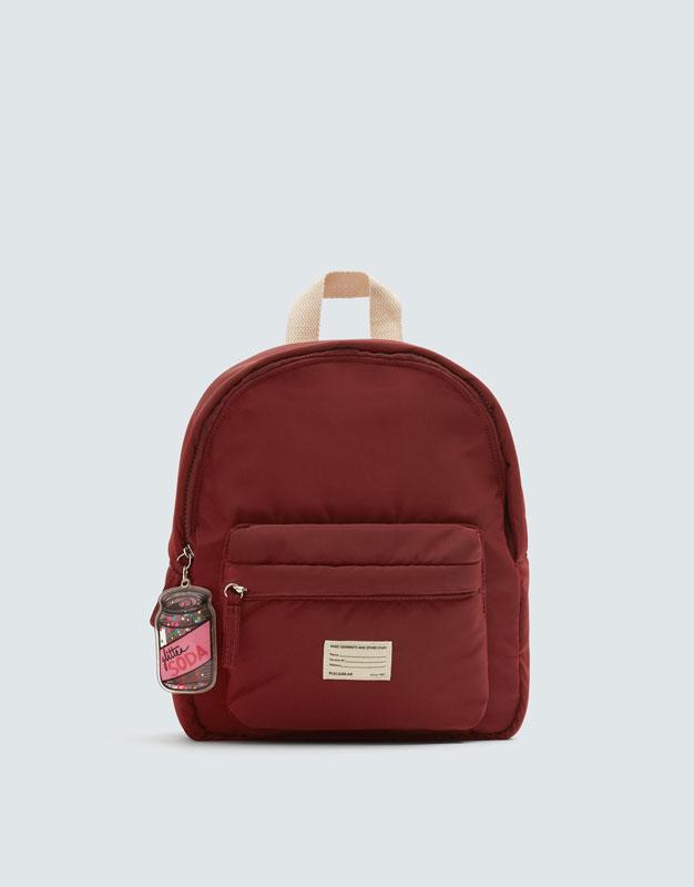 Бордовый рюкзак с брелоком by Pull & Bear