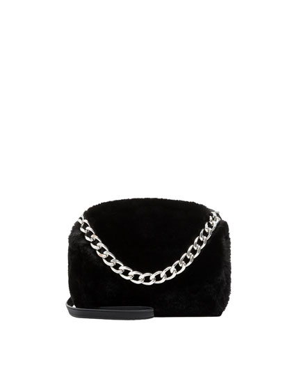 Faux fur crossbody bag with chain detail