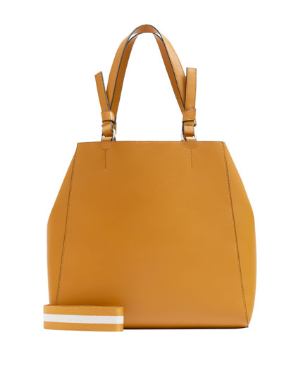 Mustard yellow tote bag with two-tone handle