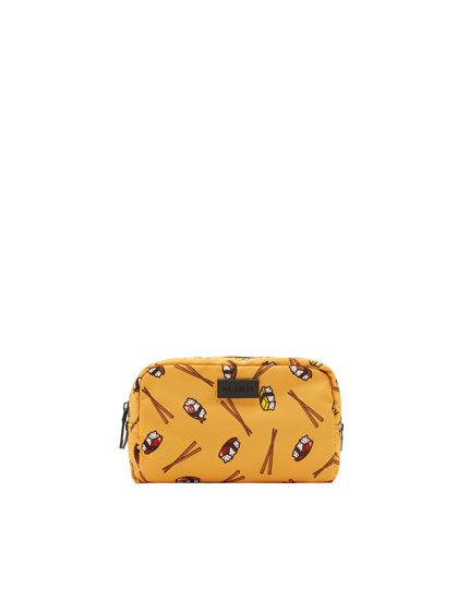 Toiletry bag with sushi design