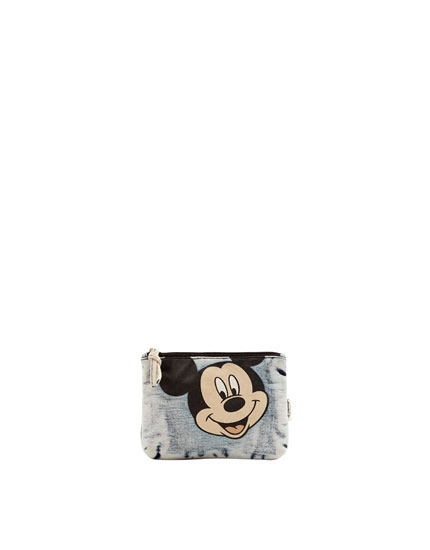 Denim Mickey Mouse toiletry bag