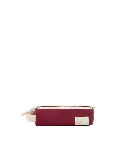 Burgundy school pencil case