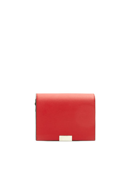 Red crossbody bag with two-tone strap