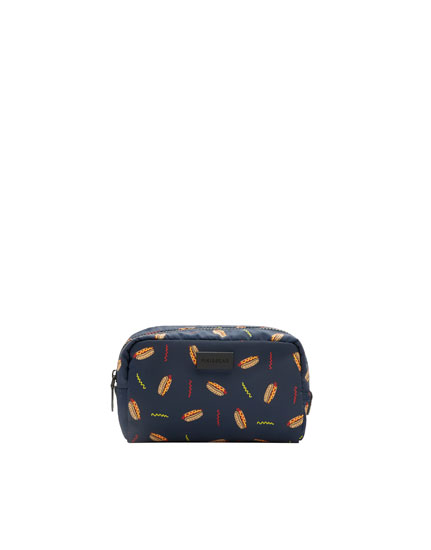 Toiletry bag with hot dog design