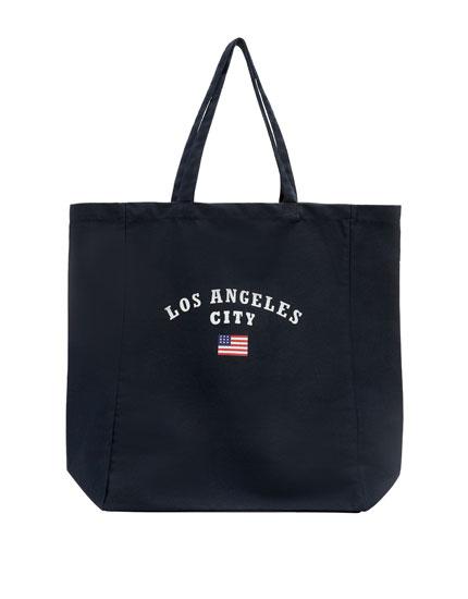 Yazılı kumaş shopper çanta