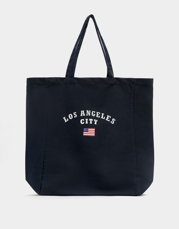 Fabric Tote Bag With Slogan by Pull & Bear