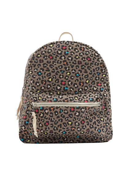 Embellished print backpack