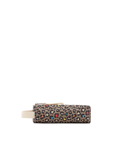 Embellished print pencil case