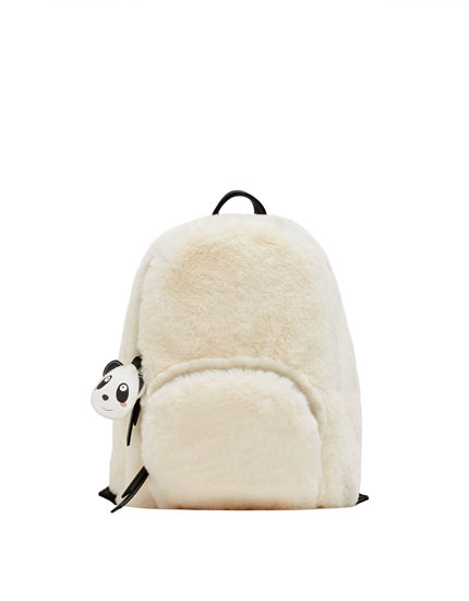 Cream-coloured fuzzy backpack with panda detail