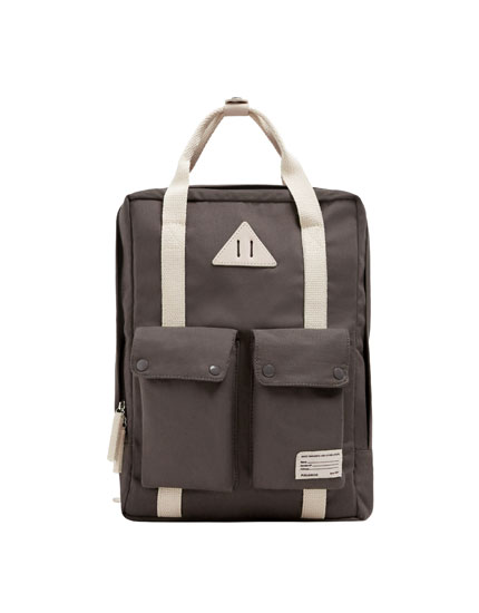 Grey school backpack