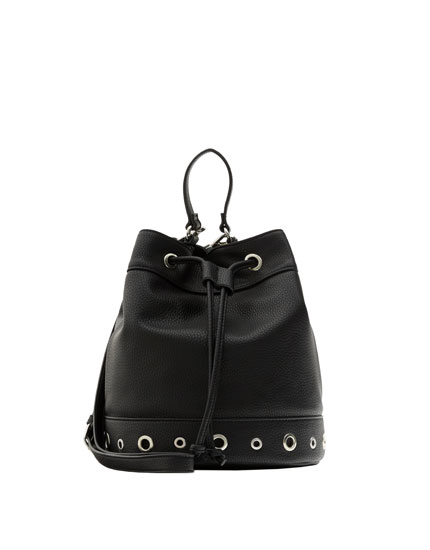Black bucket bag with grommets