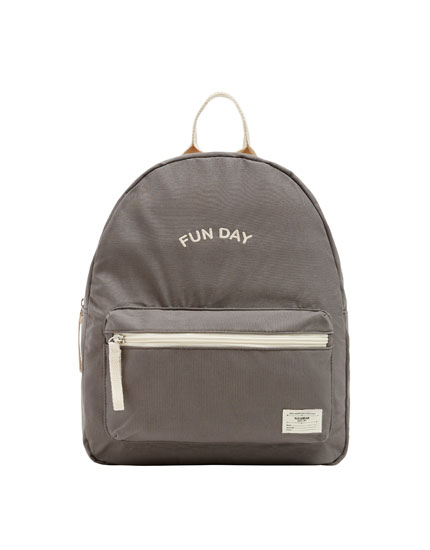 Grey slogan backpack