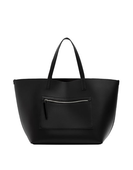Black tote with zip detail