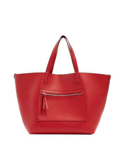 Red tote with zip detail