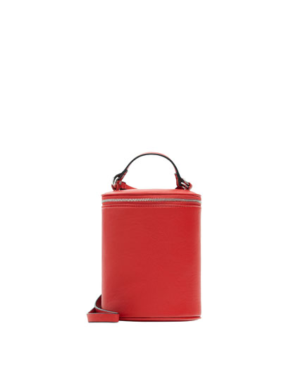 Red crossbody bucket bag