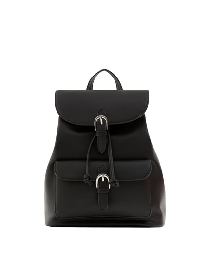 Black backpack with buckles
