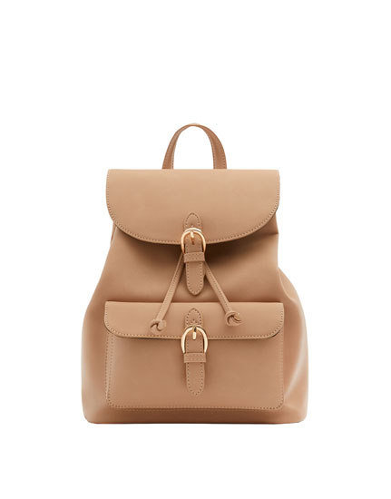 Nude backpack with buckles