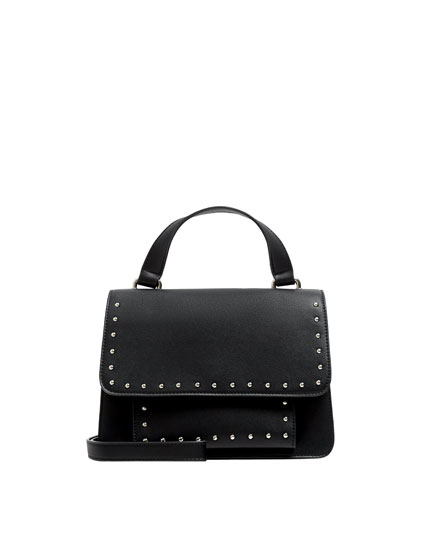 Black crossbody bag with studs
