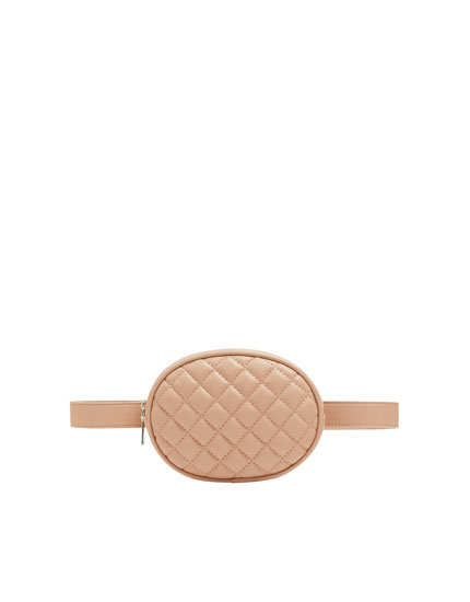 Nude quilted belt bag