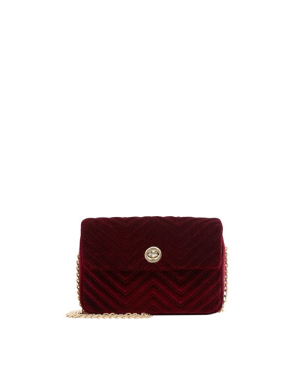 Burgundy velvet crossbody bag