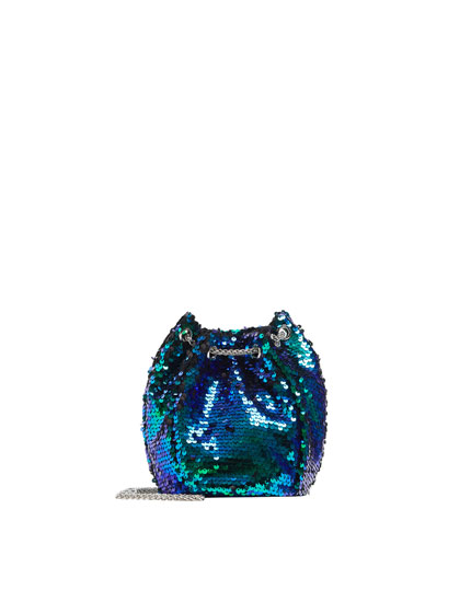 Sequinned evening bucket bag