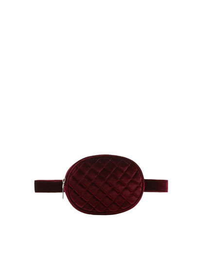 Burgundy quilted velvet belt bag