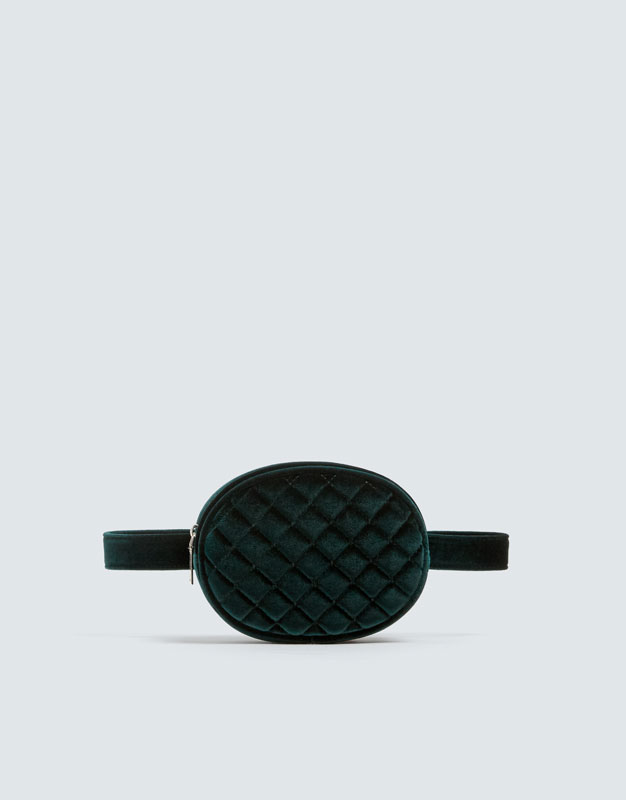 6076bb6b533d Shoptagr | Green Velvet Quilted Belt Bag by Pull & Bear