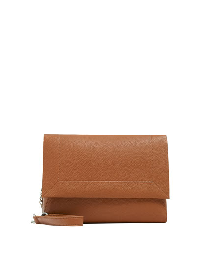 Brown crossbody bag with topstitched front flap