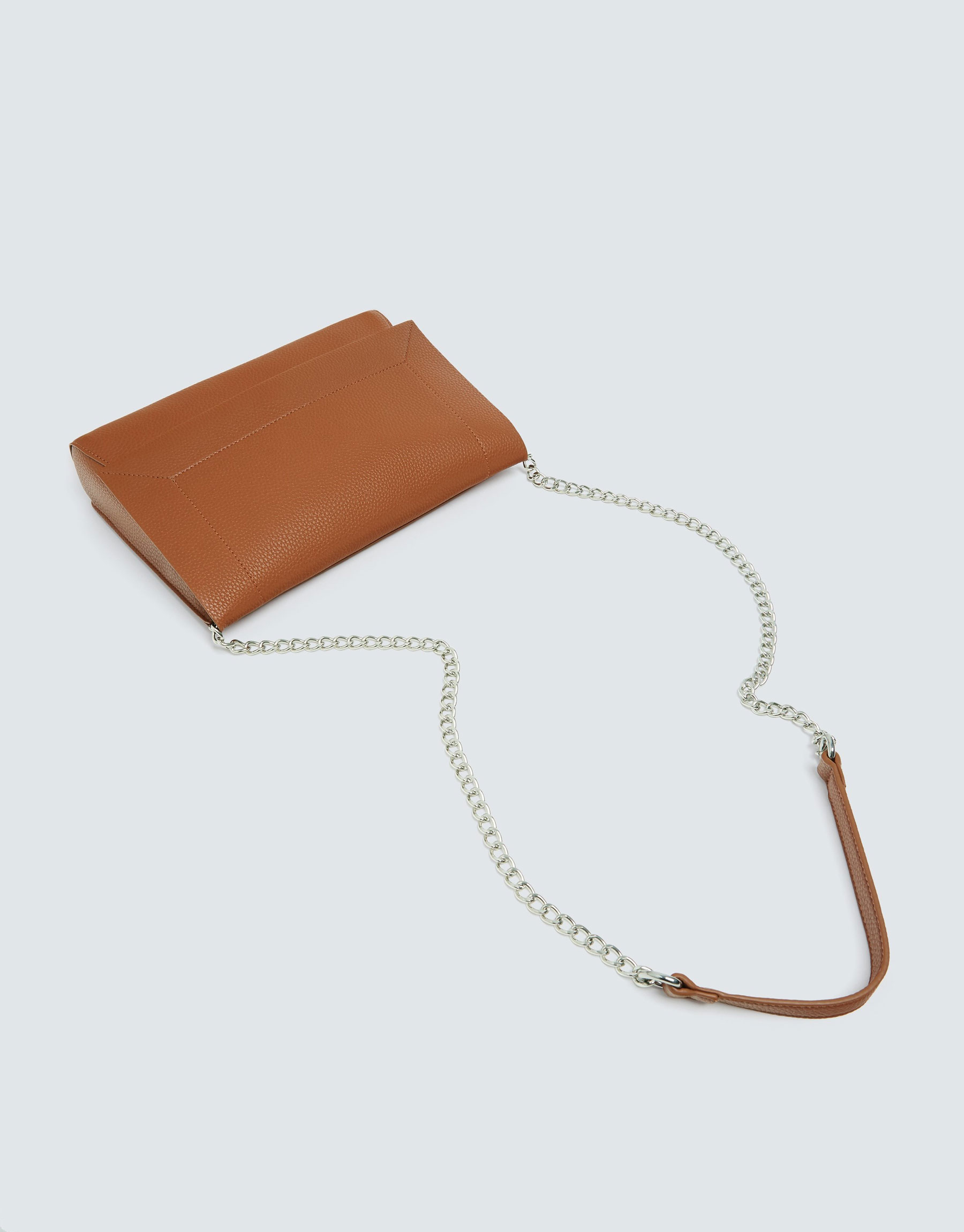 58ed75ced16a Pull   Bear Brown crossbody bag with topstitched front flap at ...