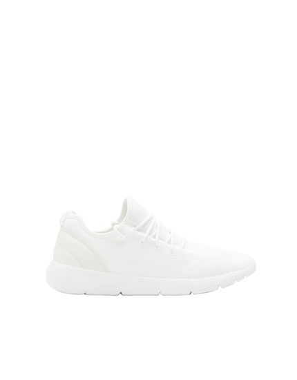 White technical high top sneakers