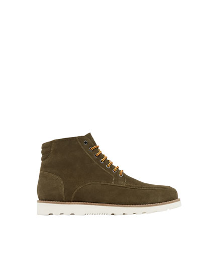 Khaki leather ankle boots