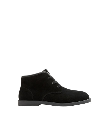 Black split suede desert boots