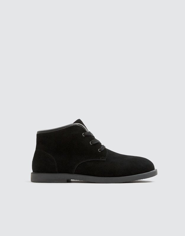 Stivaletto Desert In Pelle Scamosciata Nero by Pull & Bear