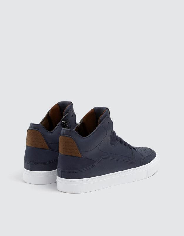 Pull & Bear - Baskets montantes ajourées bleu marine - 3