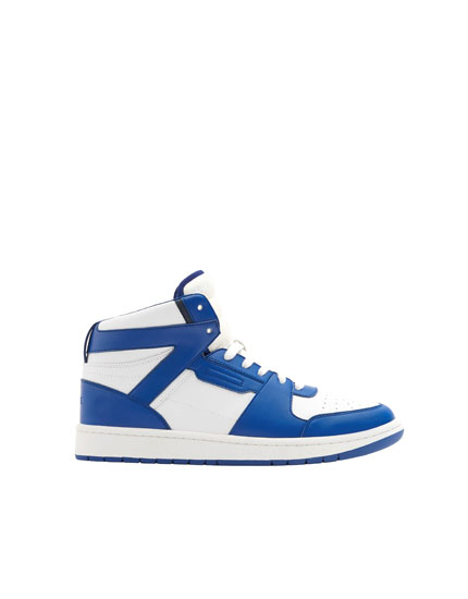Blue high-top trainers