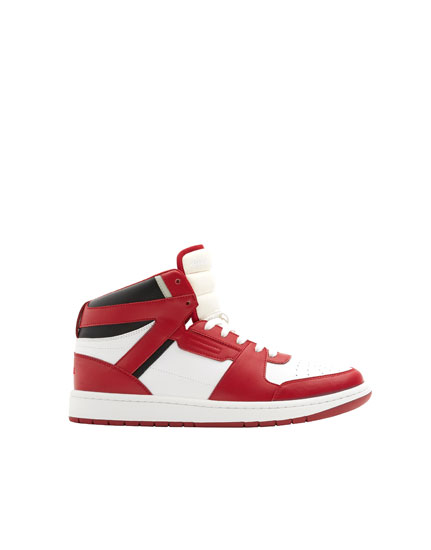 Red high-top trainers