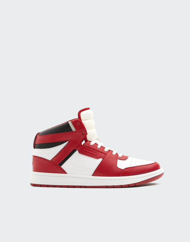 Red High Top Trainers by Pull & Bear
