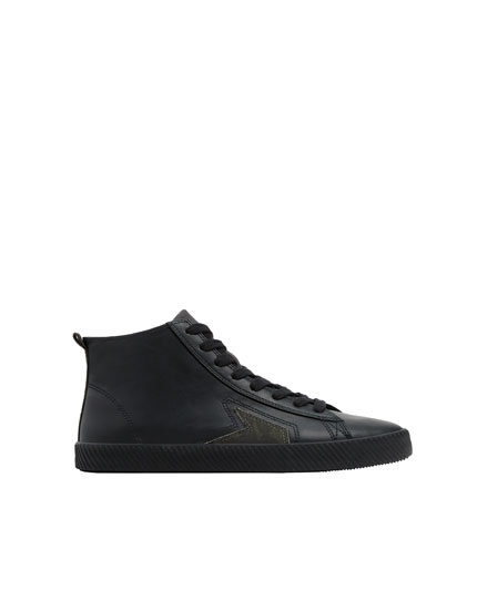 Black high-top trainers with side detail