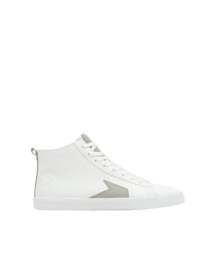 White high-top trainers with side detail